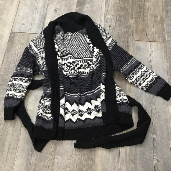 Black Large Free People Womens Cozy Cabin Mixed-Knit Belted Cardigan
